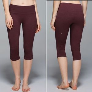 Lululemon In The Flow Burgundy Cropped Legging 6